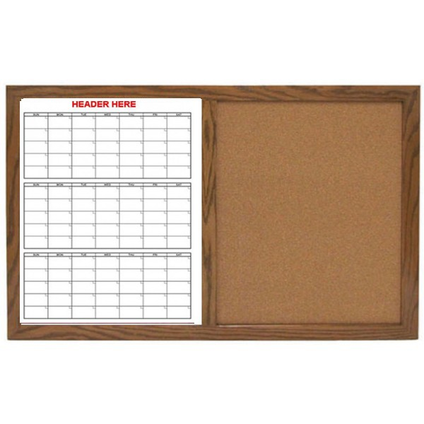 3 Month Non Magnetic Calendar Dry Erase Board Cork Combo Wood